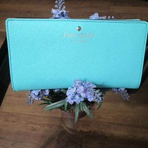 Kate spade turquoise leather wallet